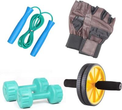 Livestrong Fitness Kit Pvc Dumbells 1 Kg Each+ Ab Wheel+ Skipping Rope+ Gloves Gym & Fitness Kit
