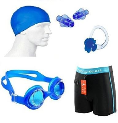 kyachaiyea Swimming Kit (Silicon Cap, Silicon Ear Plug, Swimming Nose Clip, Swimming Goggles With Men Adult Swim Boxer Nylon Swimming Kit