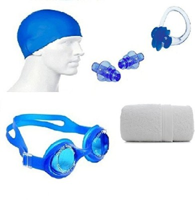 Kyachaiyea Swimming Kit (Silicon Cap, Silicon Ear Plug, Swimming Nose Clip, Swimming Goggles With 100% Pure Cotton Towel) Swimming Kit