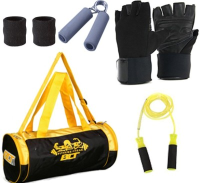 BLT PRISM Gym Bag With 1 Pair Gym Gloves,1 Power Grip,1 Skipping Rope,1 Pair Sweat Bands Gym & Fitness Kit