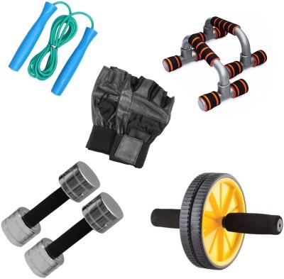 Livestrong Fitness Kit Steel Dumbells 3 Kg Each+ Ab Wheel+ Dip Stand Push Up Bar+ Skipping Rope+Gloves Gym & Fitness Kit