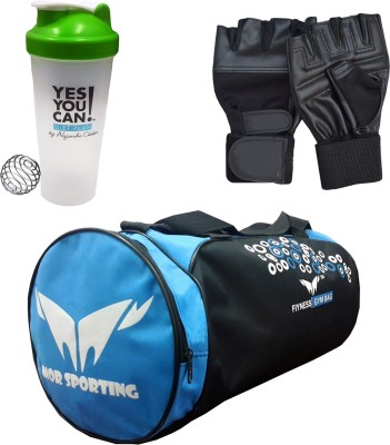 Mor Sporting Weight Lifting gloves, Shaker Bottle 600 ml and Duffle Bag Gym & Fitness Kit