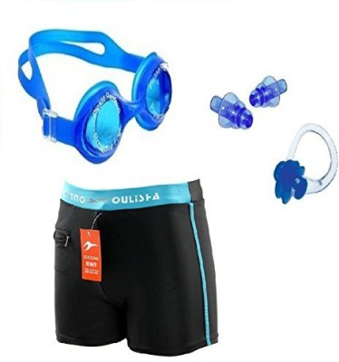 Kyachaiyea Swimming Kit (Silicon Ear Plug, Swimming Nose Clip, Swimming Goggles With Authentic Men Adult Swim Trunks Boxer Nylon) Swimming Kit
