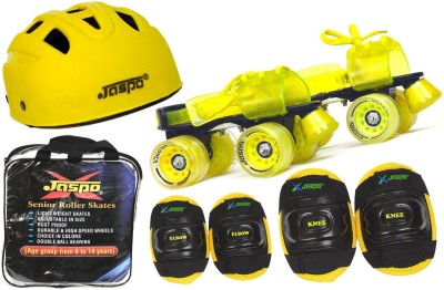 Jaspo Storm Intact Superior Senior Skates Combo (skates+helmet+knee+elbow+bag)suitable for age upto 6 to 14 years Skating Kit