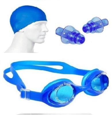kyachaiyea Swimming Kit (Silicon Cap, Silicon Ear Plug, Swimming Goggles) Swimming Kit