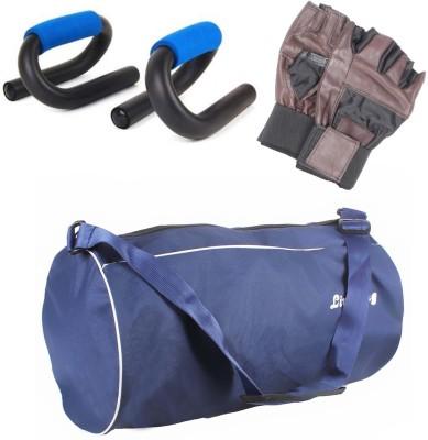 LIVESTRONG FITNESS GYM DUFFLE BAG BLUE+ S SHAPE PUSH UP BAR+ GYM GLOVES Gym & Fitness Kit