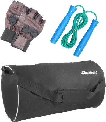 LIVESTRONG FITNESS COMBO OF GYM BAG BLACK+ SKIPPING ROPE+ WEIGHT LIFTING GYM GLOVES Gym & Fitness Kit