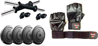 Vinto PVC 2 Kg Each 4 Pcs Weight Plates + 2 Dumbbell Rods + Pure Leather Gloves Gym & Fitness Kit