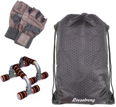 LIVESTRONG FITNESS STRING BAG BLACK + PUSH UP BAR DIP STAND + GYM GLOVES Gym & Fitness Kit