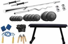 Protoner 84 Kgs & Flat Bench Gym & Fitness Kit