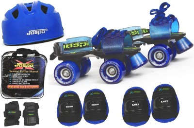 Jaspo Blue Men Pro Senior Skates Combo (Skates+Helmet+Knee+Elbow+Wrist+Bag)Suitable For Age 6 To 14 Years Skating Kit
