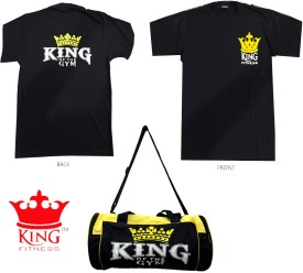KING FITNESS EXCLUSIVE COMBO 1 Pc GYM BAG, 1 Pc T-SHIRT (L) SIZE Gym & Fitness Kit