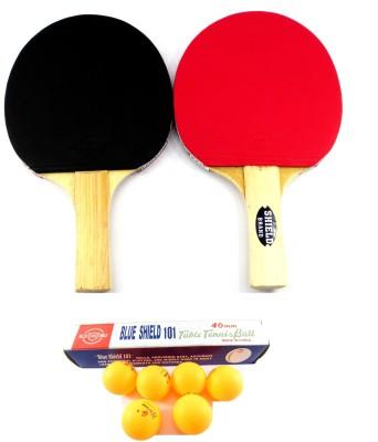 Blue Shield 2 Racquets & 6 Balls Table Tennis Kit