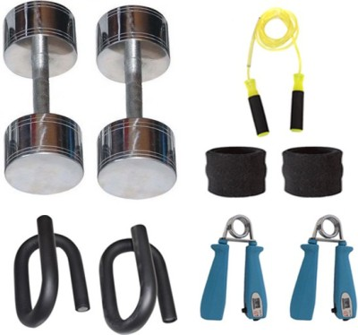 Krazy Fitness Fitness Equipments Combo With 2 pc 2 Kg Steel Chrome Dumbells Gym & Fitness Kit