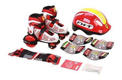 SWAGSPIN Original Ferrari Roller Skate Combo Set white Size 26-29 Skating Kit
