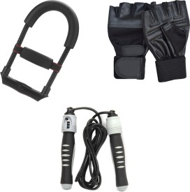 Mor Sporting gloves, Solid Skipping Rope, Fore arm excerciser Gym & Fitness Kit