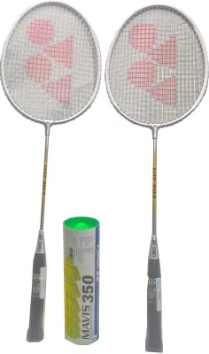 Yonex Mavis 350 ( Pack of 6) yellow Nylon Shuttle cock and GR 303 (pack of 2) Badminton Kit