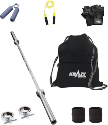 Krazy Fitness Exercise Combo With 3 ft. Gym Bar & Accessories Gym & Fitness Kit