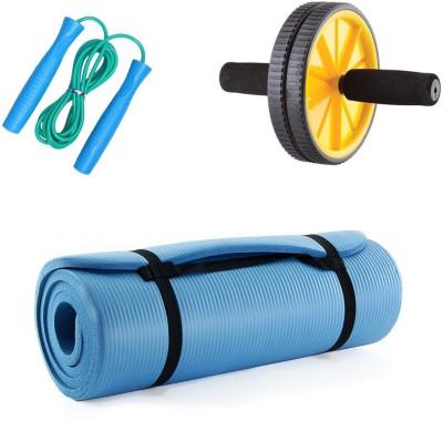 Livestrong Yoga Matt 10mm + Ab Wheel + Skipping Rope Gym & Fitness Kit