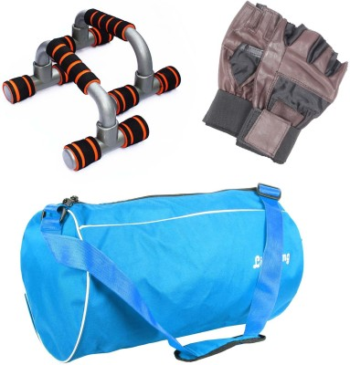 LIVESTRONG FITNESS GYM DUFFLE BAG LIGHT BLUE + PUSH UP BAR DIP STAND + GYM GLOVES Gym & Fitness Kit