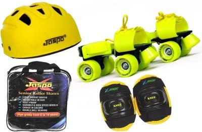 Jaspo Power Pack Eco Senior Skates Combo (skates+helmet+knee+bag)suitable for age 6 to 14 years Skating Kit