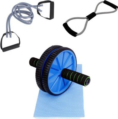 Mor Sporting Combo of Grey Double Toning Tube, 8 shapped Yoga latex tube and Ab wheel Max Gym & Fitness Kit