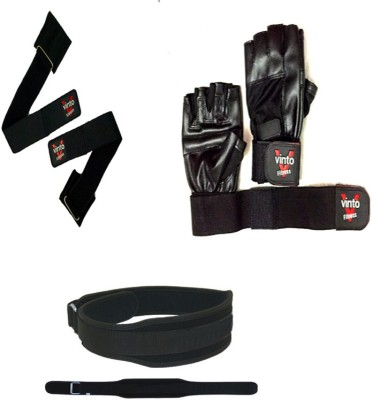 Vinto PRO FITNESS COMBO 1 PAIR GLOVES, 1 GYM BELT (L) SIZE, 1 PAIR WRIST SUPPORT Gym & Fitness Kit