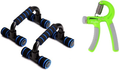 Xerobic Active Workout Performance Cushioned Push-up Bar and Hand Grip Strengthener Trainer Adjustable Resistance 10-40 Kgs Non-slip Gripper for Athletes Pianists Gym & Fitness Kit