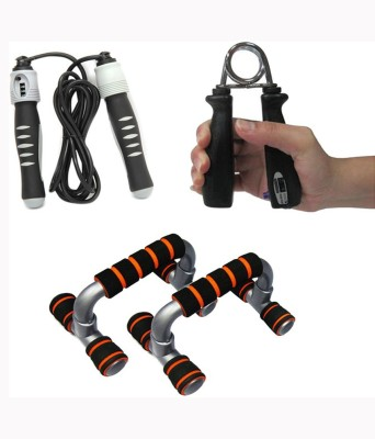 Mor Sporting Foldalbe Dip Stand With Tally Power Grip, Counter Skipping Rope Gym & Fitness Kit