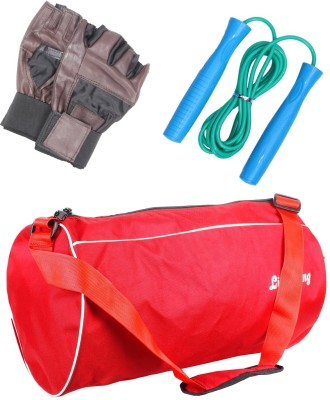 LIVESTRONG FITNESS COMBO OF GYM BAG RED + SKIPPING ROPE+ WEIGHT LIFTING GYM GLOVES Gym & Fitness Kit