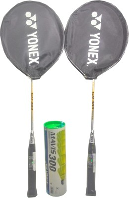 Yonex Mavis 300( Pack of 6) yellow Nylon Shuttle cock and GR 303 (pack of 2) Badminton Kit