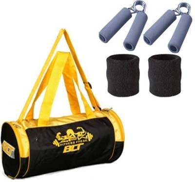 Blt Prism Duffel Bag With 1 Pair Sweat Bands & 2 Power Grips Gym & Fitness Kit