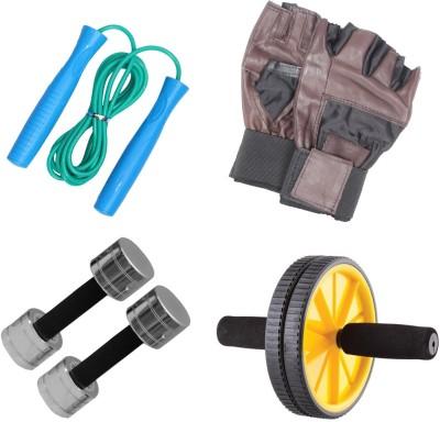 Livestrong Steel Dumbells 2 Kg Each+ Ab Wheel+ Skipping Rope+ Gloves Gym & Fitness Kit