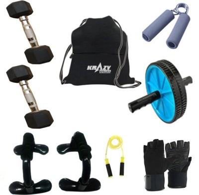 Krazy Fitness Exercise Equipments With 2 Pc. 1 Kg Hexagonal Dumbbells Gym & Fitness Kit