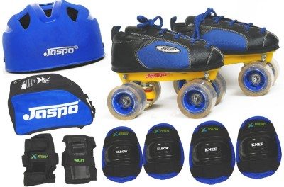 Jaspo Swift Pro Shoe Skates Combo(shoe skates+ helmet+knee+elbow+wrist+bag)Foot length 20.5 cms ( For age group 6-7 years) Skating Kit