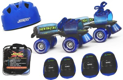 Jaspo Blue Men Intact Senior Skates Combo (skates+helmet+knee+elbow+bag)suitable for age 6 to 14 years Skating Kit