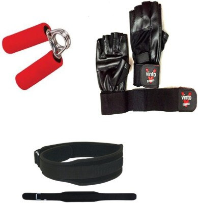 Vinto PRO POWER COMBO OF 1 WEIGHT LIFTING BELT(L) SIZE, 1 PC FOAM HAND GRIP, 1 PAIR LEATHER GLOVES Gym & Fitness Kit