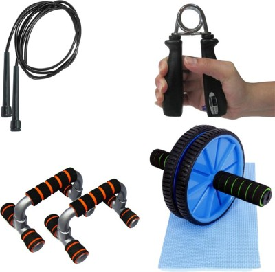 Mor Sporting Combo of Black Slim Skipping rope, Counter power hand grip, Anti slip foldable Push up bar and Ab wheel Max Gym & Fitness Kit