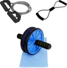 Mor Sporting GreySingle Toning Tube, 8shapped Yoga latex tube and Ab wheelMax Gym & Fitness Kit