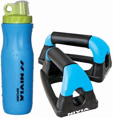 Nivia Push-Up Bar + Spider Sports Bottle (Combo) Gym & Fitness Kit