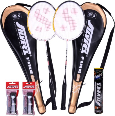 Silver's Fire Badminton Kit(2 Racquets with Cover, 1 Box Shuttlecock and 2 PVC Grips)