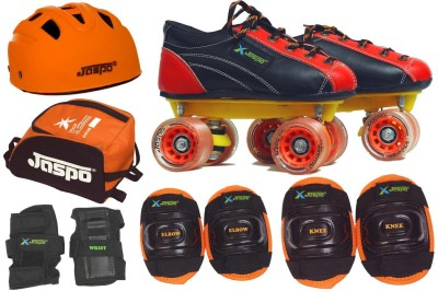 Jaspo Saphire Pro Shoe Skates Combo Size 12 (Shoe Skates+ Helmet+Knee+Elbow+Wrist+Bag) Foot Length 19.0 Cms ( For Age Group 5-6years) Skating Kit
