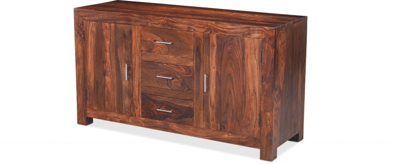 Jivan Solid Wood Kitchen Cabinet(Finish Color - Walnut Brown)