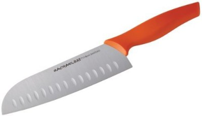 Rachael Ray Cutlery 7Inch Japanese Stainless Steel Santoku Knife With Orange Handle And Sheath