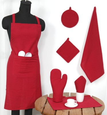 Ocean Homestore Red Cotton Kitchen Linen Set(Pack of 14) at flipkart