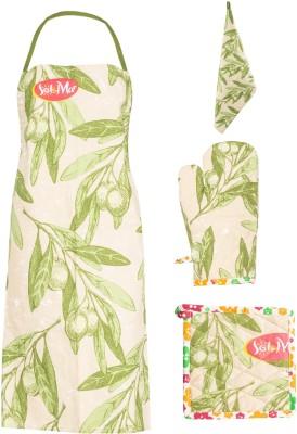 Evila India Retails Private Limited Green Cotton Kitchen Linen Set