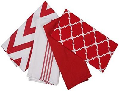 London Lady Red, White Cotton Kitchen Linen Set