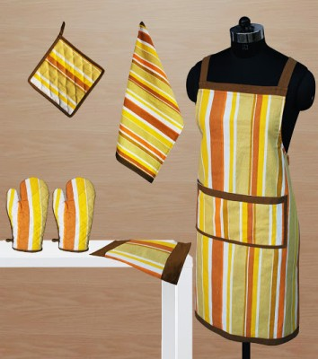 Dekor World Yellow Cotton Kitchen Linen Set