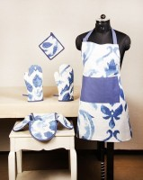 POBO Blue Cotton Kitchen Linen Set(Pack of 4)