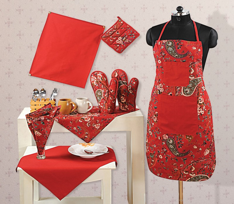 Swayam Red Cotton Kitchen Linen Set(Pack of 8)
